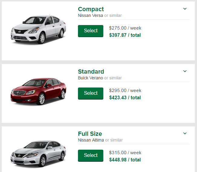 Week car rental price national